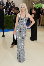 Elizabeth Banks opted for a black-and-white Michael Kors sequin dress rendered in a warped checkerboard pattern when she attended the 2017 Met Gala.