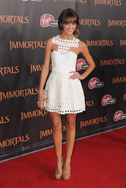 Sharni Vinson topped off her chic white frock at the 'Immortals' premiere with nude platform pumps.
