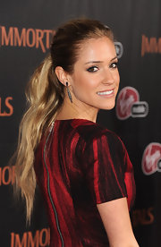 Kristin Cavallari wore her hair in a long, flowing ponytail at the premiere of 'Immortals.'