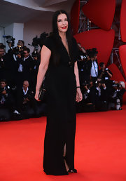 Marina Abramovic went for a minimalist-chic look at the Venice Film Festival with a simple black evening dress.