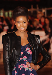 "Tullulah went for major height and volume at the premiere of ""Remember Me"" in the UK. She sported a pompadour, which looked awesome with her flowered frock and leather jacket."