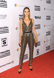 Alessandra Ambrosio was bold and chic at the Republic Records Grammy celebration in a studded jumpsuit by Naeem Khan.