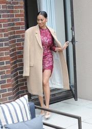 La La Anthony stepped out for the Red Cross Moms celebration rocking an oversized beige coat.