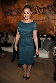 Abbie Cornish wore this teal lace dress to the Restoration Hardware Spring 2012 launch in LA.