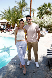 Cara Santana was casual and cute in a white crochet crop-top during the Retreat Palm Springs event.