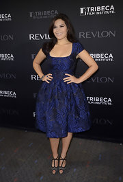 America Ferrera looked lovely in this midnight blue brocade dress at the premiere of 'Half the Sky.'