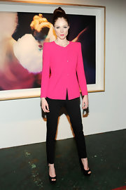 Coco Rocha's black skinny pants kept her look classic and streamline.