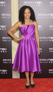 Monique Coleman looked prom-ready in a bright purple strapless dress during the 'Revolution' season 2 premiere.