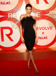 Kendall Jenner looked fab in a feather-adorned strapless LBD by LPA at the #REVOLVEawards.