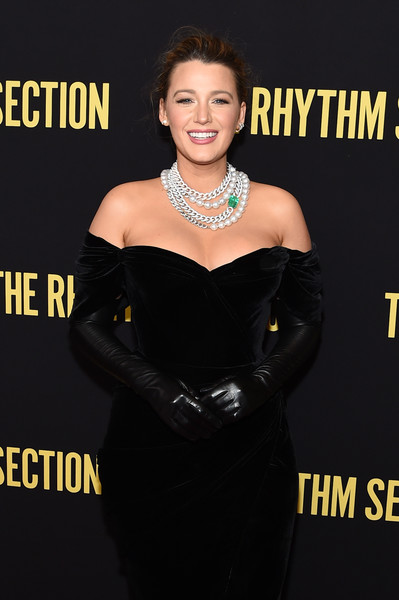 Blake Lively rocked a pair of black leather opera gloves at the New York screening of 'The Rhythm Section.'
