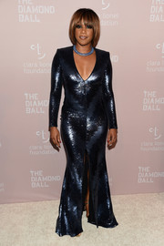 Tiffany Haddish was diva-glam in a navy sequined gown by Rubin Singer at the 2018 Diamond Ball.