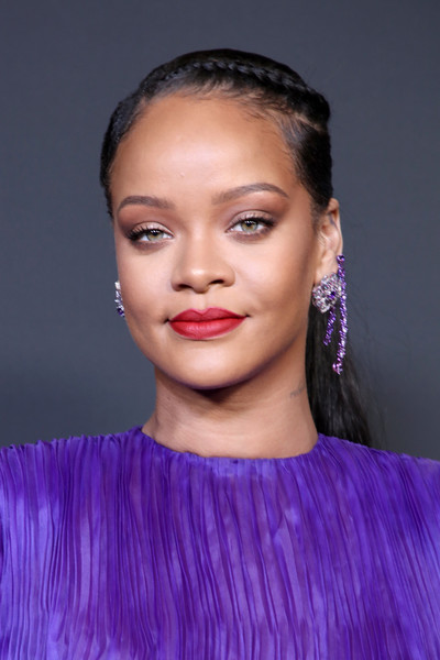 Rihanna Dangling Gemstone Earrings [hair,face,eyebrow,lip,hairstyle,fashion,purple,beauty,chin,skin,rihanna,bet presents the 51st naacp image awards,hair,hair,purple,brown hair,fashion,room,pasadena civic auditorium,president\u00e2,long hair,hair m,haute couture,supermodel,fashion,hair,black hair,brown hair,purple,model]