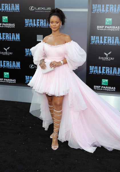 Rihanna Lace-Up Heels [the city of a thousand planets,flooring,fashion model,beauty,lady,shoulder,leg,carpet,joint,girl,fashion,arrivals,rihanna,red carpet,valerian and the city of a thousand planets,tcl chinese theatre,stx entertainment,europacorp,premiere,premiere,rihanna,valerian and the city of a thousand planets,graumans chinese theatre,red carpet,premiere,europacorp,2017,actor,stx entertainment,singer]