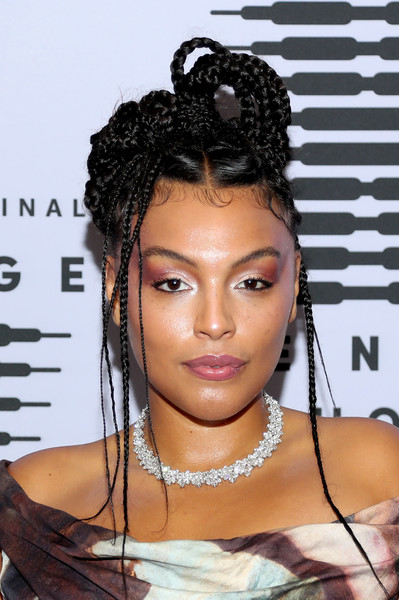 Paloma Elsesser rocked an intricate braided updo at the Savage X Fenty show.