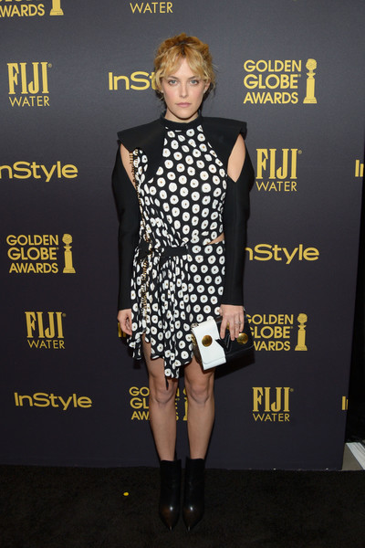 Riley Keough Leather Clutch [clothing,fashion,dress,fashion model,carpet,footwear,yellow,fashion design,cocktail dress,little black dress,riley keough,golden globe award,catch la,west hollywood,california,hollywood foreign press association and instyle celebrate,instyle]