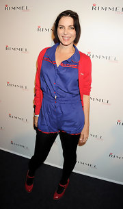 Sadie Frost kept it casual in a collared blue romper at the Rimmel & Kate Moss Party.