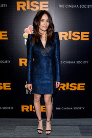 Abigail Spencer finished off her outfit with simple black ankle-strap sandals.