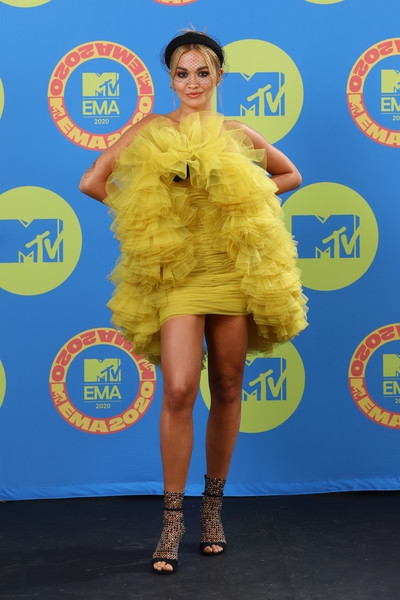 Rita Ora Strapless Dress [image,clothing,yellow,cocktail dress,electric blue,dress,footwear,flooring,carpet,dress,presenters,ema 2020 - performers,artist,management,request,clothing,mtv,mtv ema,jesy nelson,2020 mtv europe music awards,little mix,fashion,model,red carpet,celebrity,emmerdale,clothing,dress]