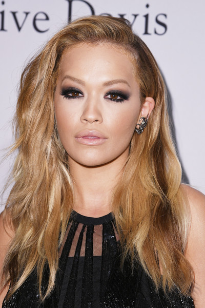 Rita Ora Smoky Eyes [hair,face,hairstyle,blond,eyebrow,long hair,hair coloring,brown hair,lip,beauty,rita ora,debra lee - arrivals,debra lee,salute to industry icons,california,los angeles,the beverly hilton,pre-grammy gala]