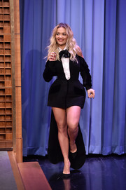 Rita Ora went playful with this Nicolas Jebran cold-shoulder tuxedo dress during her appearance on 'Jimmy Fallon.'