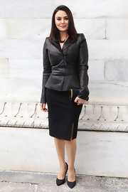 Preity Zinta went classic  at Milan Fashion Week wearing a black pencil skirt and leather jacket.