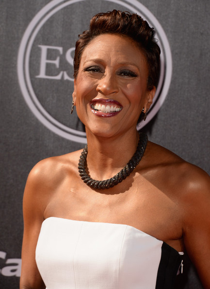 Robin Roberts Fauxhawk [hair,hairstyle,shoulder,eyebrow,beauty,chin,smile,dress,hair accessory,fashion accessory,arrivals,robin roberts,part,nokia theatre l.a. live,los angeles,california,espys]