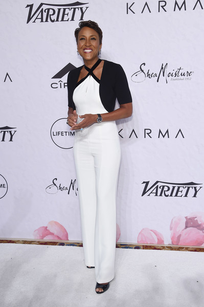 Robin Roberts Shrug Sweater [white,clothing,fashion,pantsuit,pink,shoulder,fashion design,joint,suit,formal wear,robin roberts,variety,power of women: new york,power of women: new york,new york city,cipriani wall street]