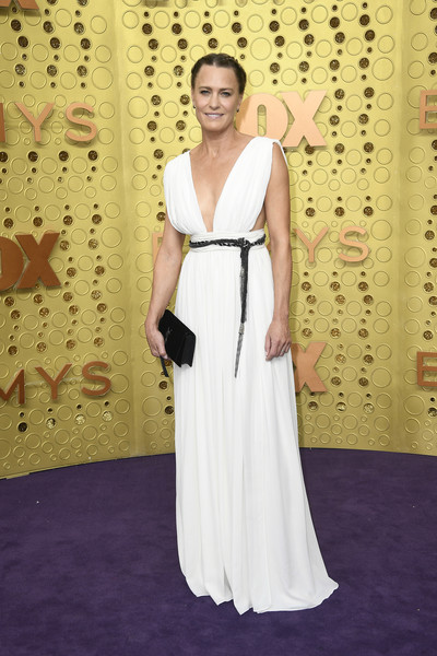 Robin Wright Evening Dress [dress,clothing,red carpet,gown,carpet,shoulder,fashion,flooring,formal wear,haute couture,arrivals,robin wright,emmy awards,microsoft theater,los angeles,california]