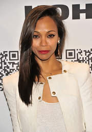 Zoe Saldana wore her hair sleek and shiny at the Rock & Republic for Kohl's event.