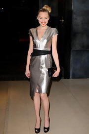Noelle Reno wore this futuristic silver number to the Rodial Beautiful Awards in London.