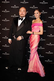 Mandy Lieu looked gorgeous at the Soiree Monegasque in an off-the-shoulder mermaid gown made of sherbet hues.