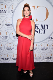 Ashley Greene dolled up in a red halter gown by Monsoori for the launch of Click My Closet.