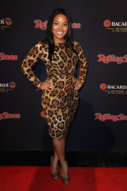 Michelle Epps looked wild in a long sleeve leopard print dress at the Rolling Stone party.