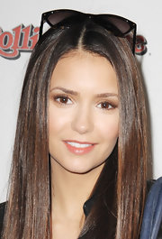 Nina Dobrev wore a soft neutral brown eyeshadow at the 'Rolling Stone' Super Bowl party.