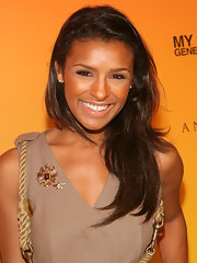 Melody Thornton showed off her brown locks while hitting a red carpet event in LA.