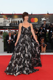Paz Vega chose a black Carolina Herrera gown with spaghetti straps and a metallic animal print for the Venice Film Festival screening of 'Roma.'