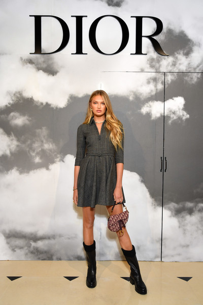Romee Strijd Printed Purse [haute couture fall,fashion model,clothing,fashion,outerwear,poster,footwear,photography,book cover,knee,album cover,christian dior,part,paris,france,christian dior haute couture fall,romee strijd,photocall - paris fashion week,paris fashion week,show]