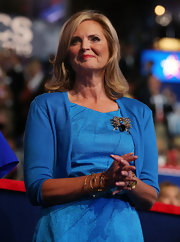 Ann wore a tonal blue cardigan to match her iridescent dress on the final day of the Republican National Convention.