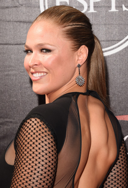 Ronda Rousey Ponytail [hair,hairstyle,eyebrow,beauty,long hair,blond,chin,neck,ear,ponytail,arrivals,ronda rousey,microsoft theater,los angeles,california,espys,mixed martial arts]
