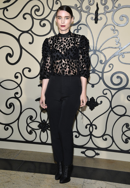 Rooney Mara Lace Up Boots