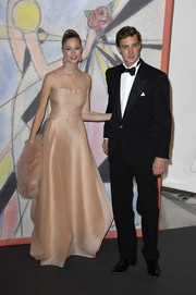 Beatrice Borromeo was pure elegance in a pale pink silk organza gown with an illusion neckline at the 2014 Rose Ball.