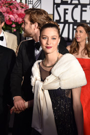 Beatrice Borromeo looked opulent wearing this cream fur scarf at the 2017 Rose Ball.
