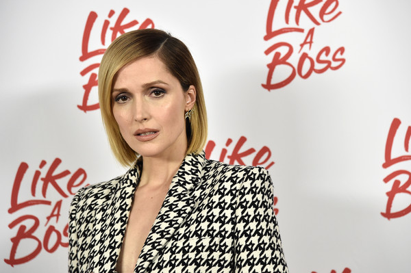 Rose Byrne Bob [red,coca-cola,beauty,cola,lip,fashion,font,carbonated soft drinks,smile,plant,rose byrne,like a boss,new york city,whitby hotel,photo call]