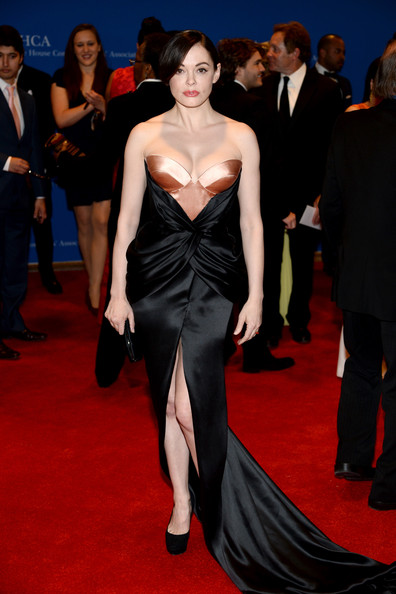 Rose McGowan Strapless Dress [red carpet,carpet,dress,clothing,fashion model,flooring,shoulder,fashion,premiere,gown,arrivals,rose mcgowan,washington dc,washington hilton,white house correspondents association dinner]
