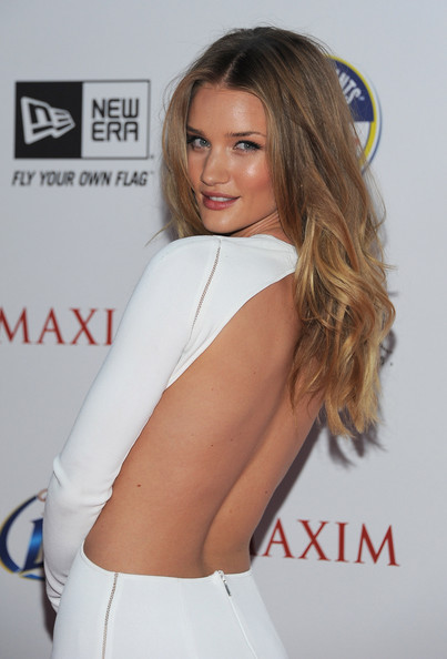 Rosie Huntington-Whiteley Long Curls [hair,white,clothing,shoulder,beauty,hairstyle,blond,model,long hair,brown hair,maxim hot 100,arrivals,rosie huntington-whiteley,hollywood,california,eden,maxim,hot 100 party]