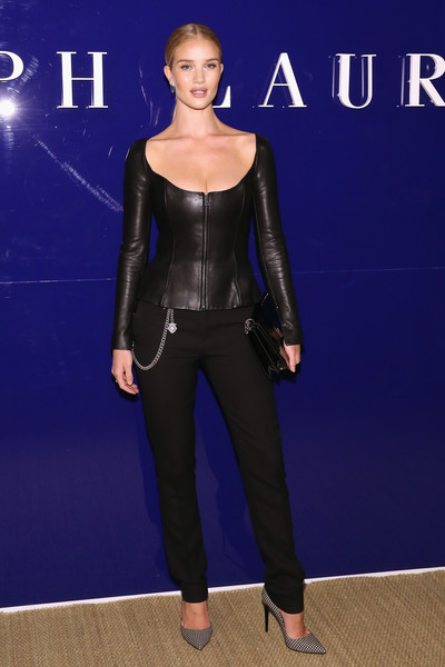 Rosie Huntington-Whiteley Leather Jacket [the shows,blue,fashion model,electric blue,fashion,flooring,latex clothing,catwalk,carpet,ralph lauren,rosie huntington whiteley,front row,new york city,new york fashion week]