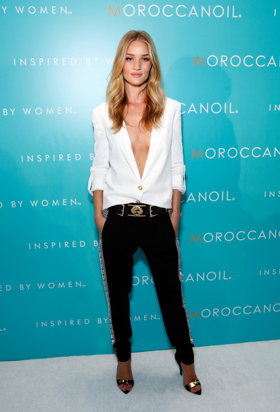 Rosie Huntington-Whiteley Slacks [fashion model,standing,shoulder,fashion,outerwear,formal wear,girl,photo shoot,model,joint,rosie huntington-whiteley,new york city,iac building,by women campaign launch event,women campaign launch event,moroccanoil]