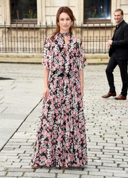 Olga Kurylenko oozed feminine appeal in this printed, tie-neck maxi dress at the Royal Academy of Arts Summer Exhibition.