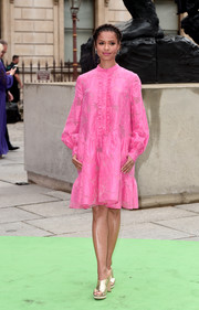 Gugu Mbatha-Raw looked demure and pretty in a long-sleeve pink ruffle dress by Erdem at the Royal Academy of Arts Summer Exhibition.