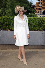 Kate Silverton opted for a pair of dainty nude kitten heel slingbacks as she posed for photographers at the Royal Ascot.